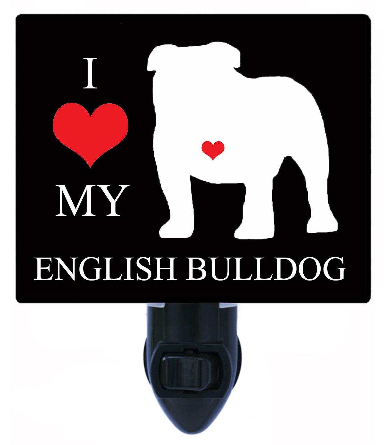 Amazon.com: Luz de noche – I Heart My Bulldog Inglés – Love ...