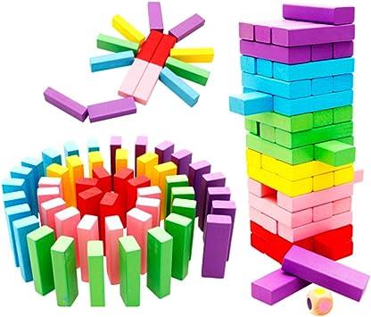 48 Piezas Bloques de Madera Que Caen Paquete de Torre Multicolores Apilables Imponentes: Amazon.es: Juguetes y juegos