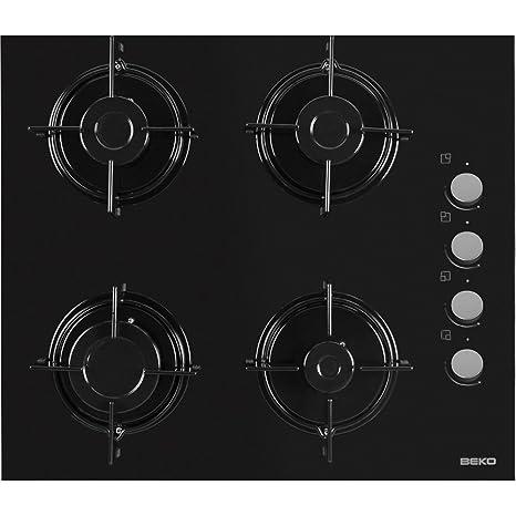 Beko HISG 64120 S hobs - Placa (Incorporado, Gas, Vidrio, Giratorio, Arriba a la derecha, 59 cm) Negro