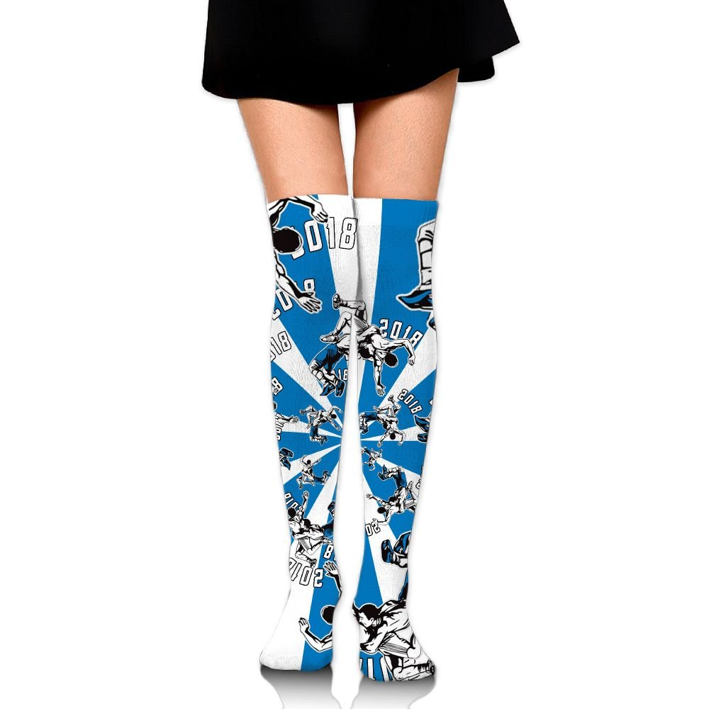 Zaqxsw Funny Wrestling Sports Womens Socks Thigh High Knee High Socks Running Socks
