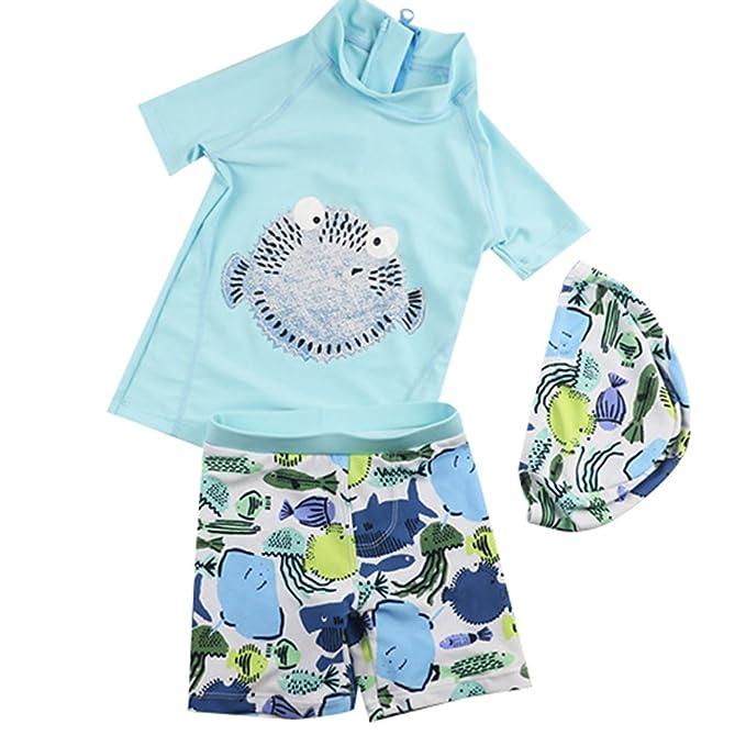 888ceb883ba Kids Boy Swimsuit Set Sun Protection Rash Guards Two Piece Bathing Suit  Swimwear with Hat Blue