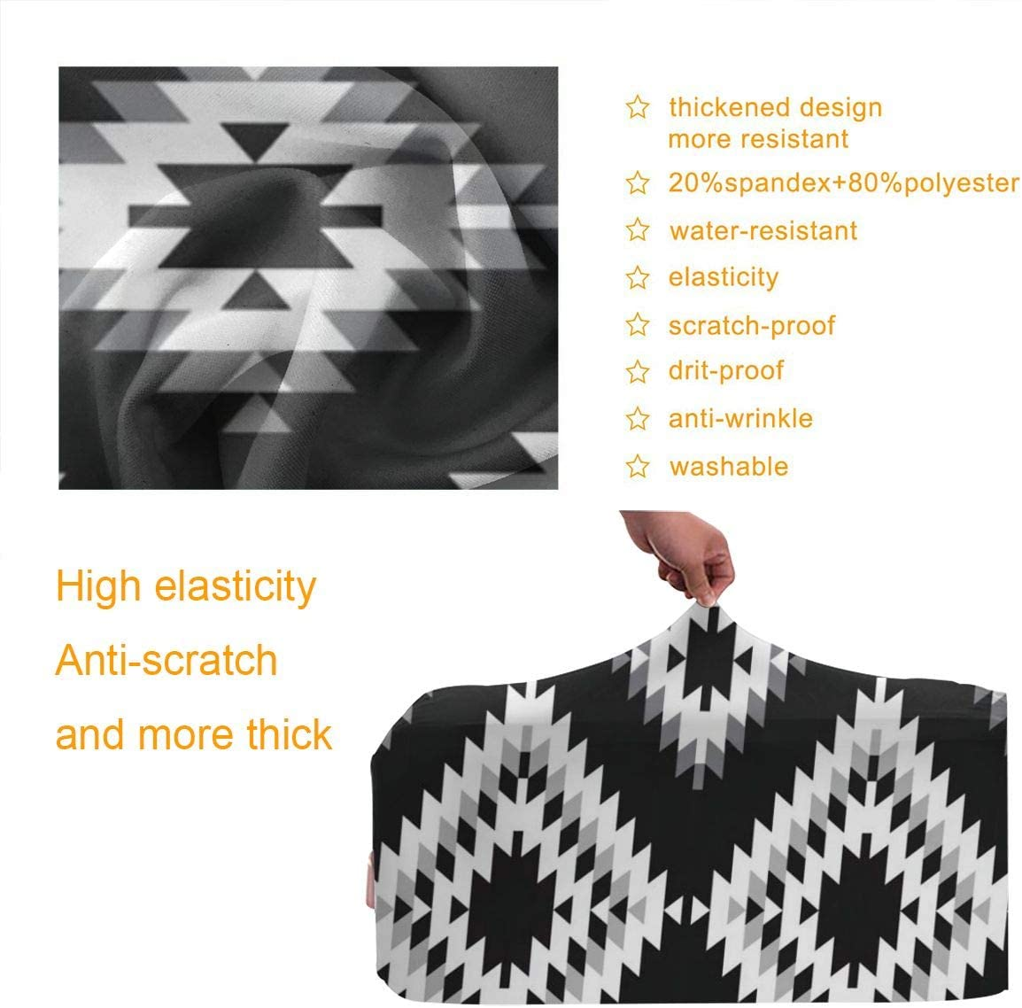 Pattern Rug Turkish White Gray Black Patchwork XL 18-32 Inch luggage Cute 3D Luggage Protector Suitcase Cover S M L XL