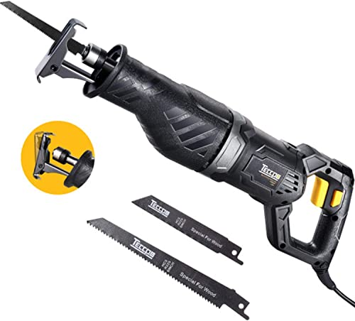 Reciprocating Saw, TECCPO 9.0A 120V saw, 1-1 10 Stroke Length, 2500 SPM Variable Speed, Tool-Free Balde Change, 3 Saw Blades for Wood and Metal Cutting – TARS24P