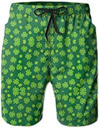 c760f06117 Happy St Patrick's Day Clover Swim Trunks Quick Dry Beach Board Home Water  Sports Men's Shorts