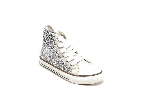 designer fashion 6cd5d ad5dd Scarpa Bambina Ragazza,Twin Set HS68DU, Sneakers in Tessuto e Paillettes,  Colore Beige Amazon.it Scarpe e borse
