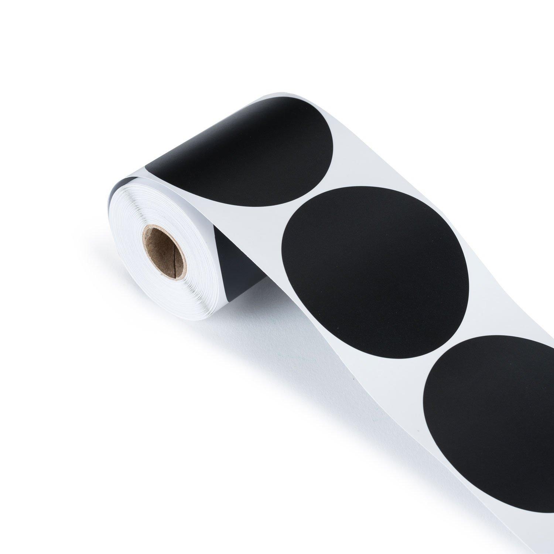 mermelada de vinilo redondas negro mate Negro 4cm x 4cm LabelQueen 100/pegatinas de pizarra en una pr/áctica caja dispensadora para tarros de conserva