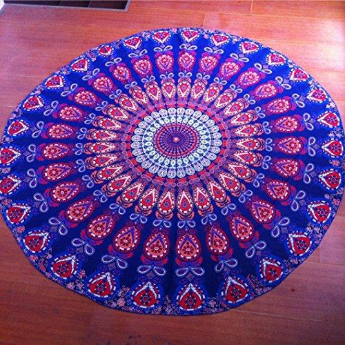 """Serviette de Plage, Xinan Hippie Ronde Tapisserie Ronde Mandala Plage Serviette Yoga Mat Bohème Nappe Glands Décoratifs (150cm/59.0"""", Multicolore)"""