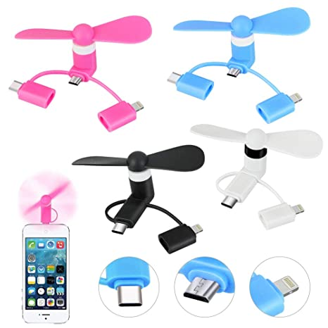 BESTZY Mini USB Fan 3-in-1 Portable Phone Fan for iPhone//iPad and Android Type-C 3 Pack Android Micro-USB Phones