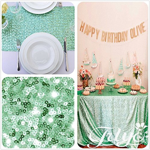 Trlyc 13 x 120 inch mint sparkly sequin table runner for 120 inch table linens