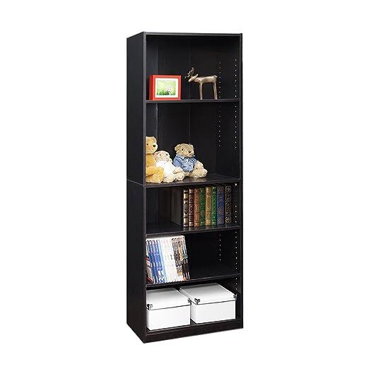 amazon com furinno jaya simply home 5 shelf bookcase black