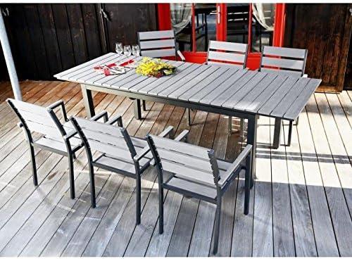 Ensemble table extensible de jardin 180 - 240 + 6 fauteuils ...