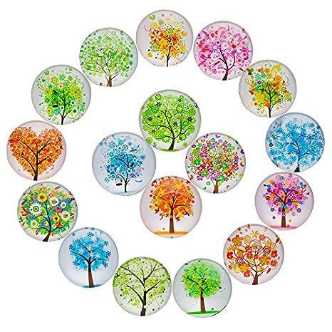 Amazon.com: jiuzhu 17 piezas Árbol de la vida patrón vidrio ...