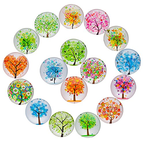 17 Pieces Tree Pattern Glass Refrigerator Magnet Fridge Magnets Sets for Home Office Map Photo Cabinets Whiteboards Decorative