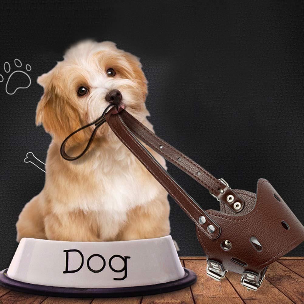Cubrir la Boca del Perro de Silicona Transpirable Suave Bozal Ajustable para la Formaci/ón Morder Barking La masticaci/ón del jadeo S Brown Wudi Bozales para Mascotas Perro