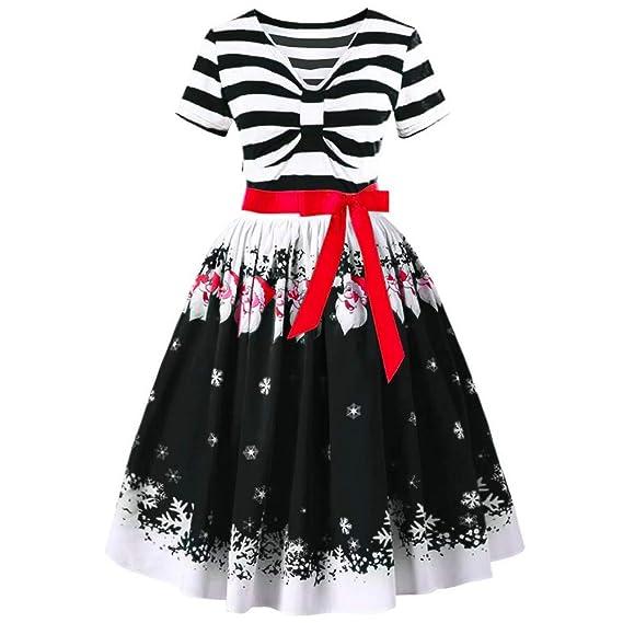 Lenfesh_Vestidos de Mujer, Años 50 Vintage Vestidos de Navidad Rayas Vestido Manga Corta con Lazo