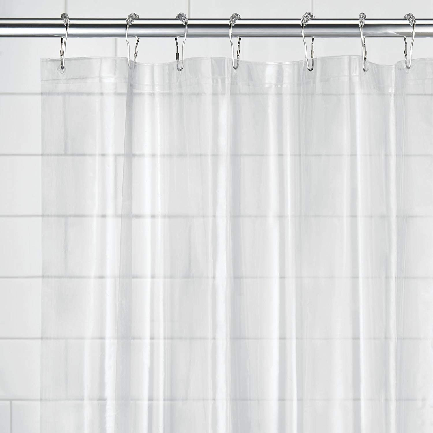 Mold and Mildew Resistant for use Alone or with Fabric Curtain for Master Standard iDesign PEVA Plastic Shower Bath Liner Guest Bathroom Clear Kids