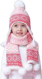 FERZA Home Completo da Due Pezzi per Bambini e Bambine Autunno e Inverno Lavorato a Maglia più Gli orecchi di Velluto paraorecchie scaldamani in Cotone + Cappucci per Sciarpe (Size : X-Large)