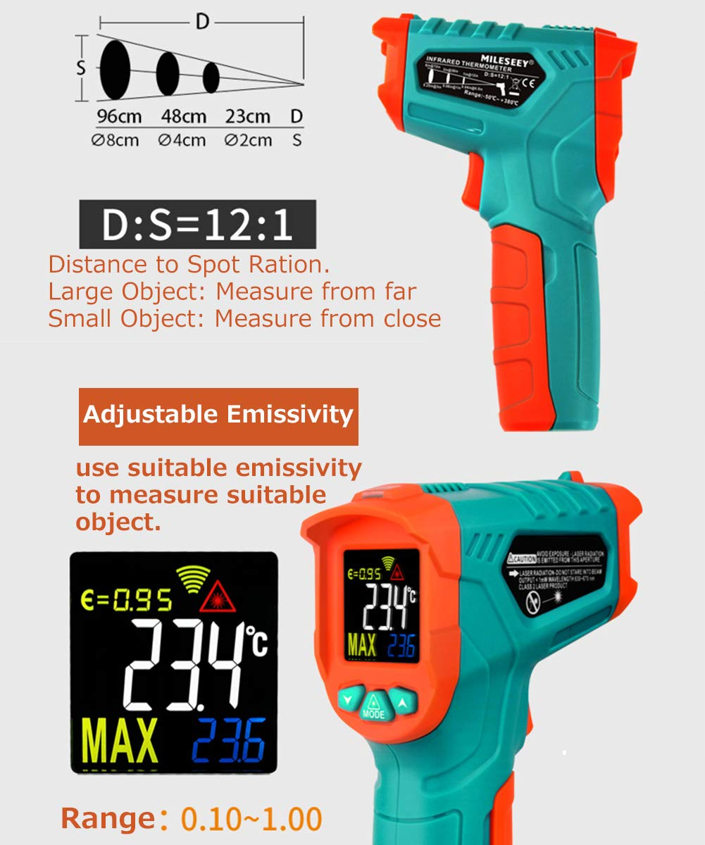 Mileseey MC818A Infrared Thermometer IR Temperature Gun 12 Laser Digital Non-Contact Tester -58℉~716℉(-50℃~380℃) with Adjustable Emissivity&Max Measure for Kitchen Cooking Meat Automotive (MC818A)