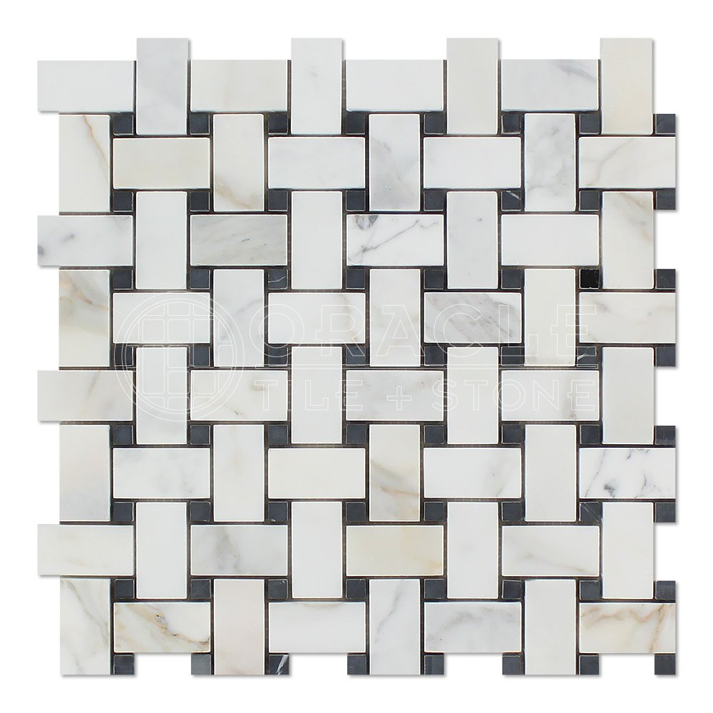 Calacatta Gold (Italian Calcutta) Marble Basketweave Mosaic Tile with Black Marble Dots, Honed