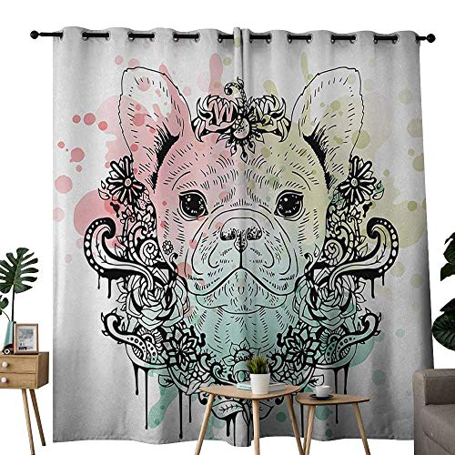 NUOMANAN Blackout Curtains for Bedroom Animal,French Bulldog with Floral Wreath on Brushstroke Watercolor Print,Mint Pale Pink Pale Green,Darkening Grommet Window Curtain-Set of 2 100