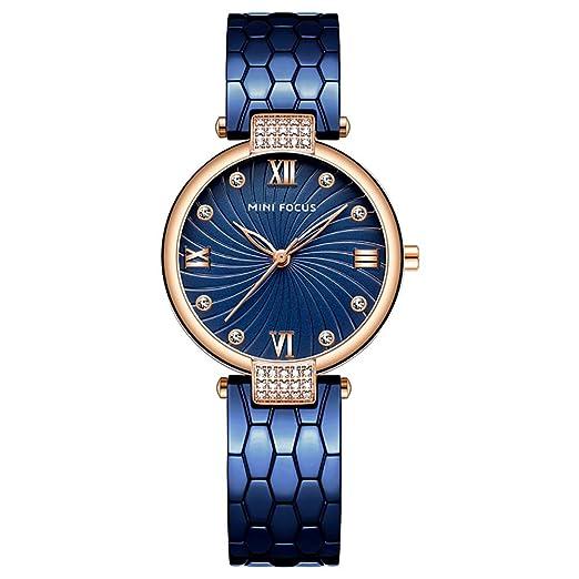 Reloj de Acero Inoxidable, HVDHYY Azul Analógico Reloj de Pulsera de Cuarzo para Mujer Moda Adorno de Cristal Resistente al Agua 3/ATM: Amazon.es: Relojes