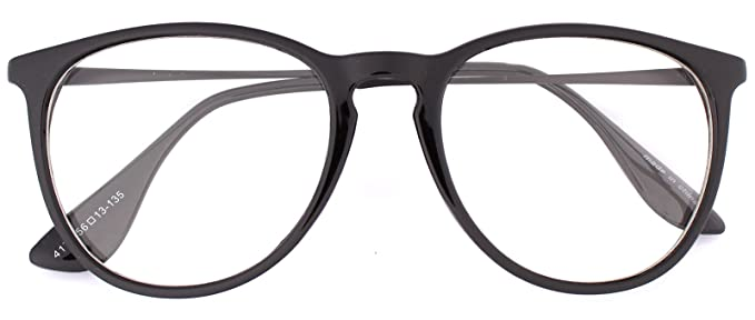 82c16e7f2 Oversized Big Round Horn Rimmed Eye Glasses Clear Lens Oval Frame Non  Prescription (Black 41719