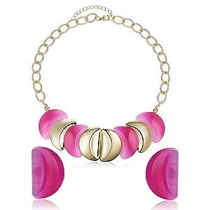 ARICO Classic Jewelry Geometric Enamel Jewelry Set Gold Plated Luxury Necklace and Earrings Set NE654