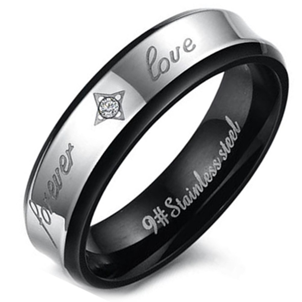 Flongo Men's WomensForever Love Stainless Steel Ring Couples Valentine Wedding Engagement Promise Band