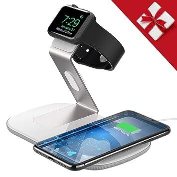 Holife - Cargador inalámbrico 2 en 1 para iPhone X/XS/XS Max/8/8 Plus, Galaxy S9+/S9/S8/S8+, Soporte de Cargador para iWatch Series 3/Series 2/Series ...