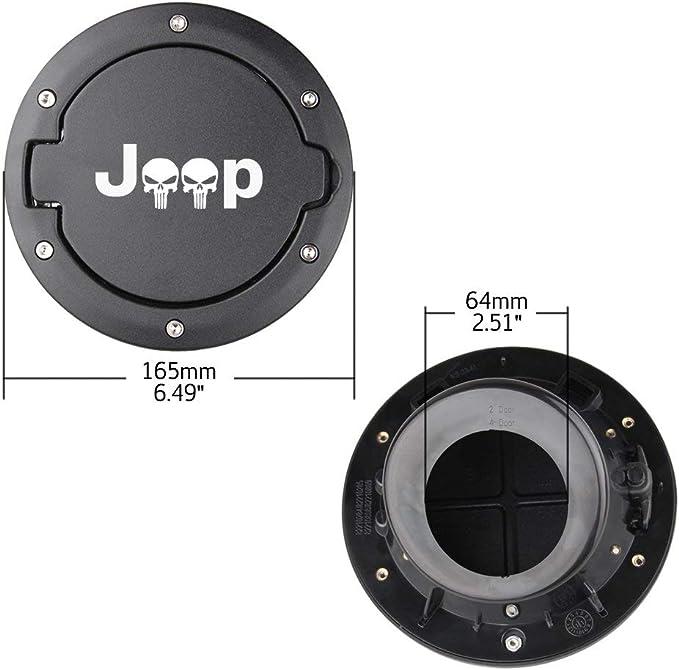 Tank Abdeckungen for Jeep Wrangler JK 2007-2017 Car /Öl Cap Tankdeckel-Abdeckung for Jeep Wrangler Zubeh/ör Car Styling Color : Black Dog Footprints