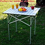 Portable Aluminum Folding Roll Up Camping Table with Strong Stable Hard-Topped Desktop for Outdoor Garden Yard Picnic