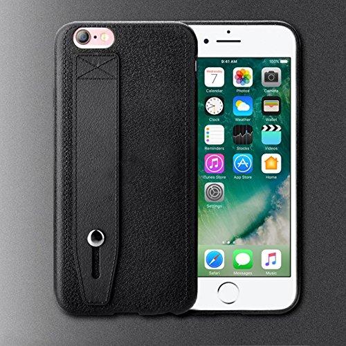TPU Handy Schutz Hülle mit Handschlaufe für Apple iPhone 7 Plus Elegante Handy Tasche mit Standfunktion und Haltegriff Back Cover Case Etui Bumper in Schwarz