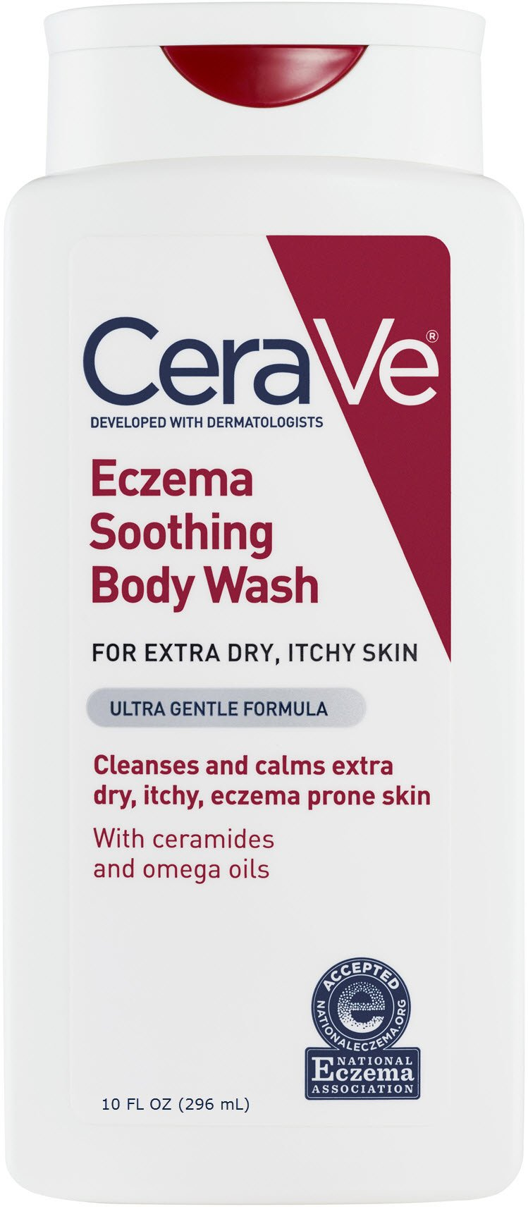 CeraVe Eczema Soothing Body Wash 10 oz with Omega Oils and Ceramides for Cleansing and Calming Dry