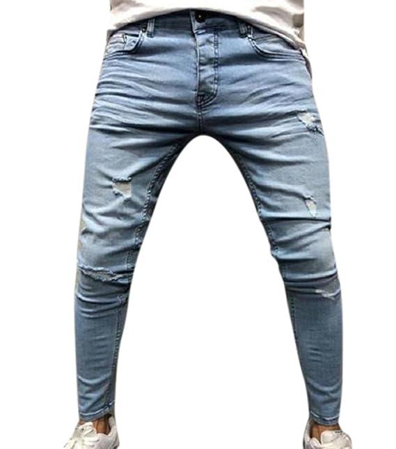 Hibasing Jeans da Uomo, Pantaloni Skinny in Denim con Stampa