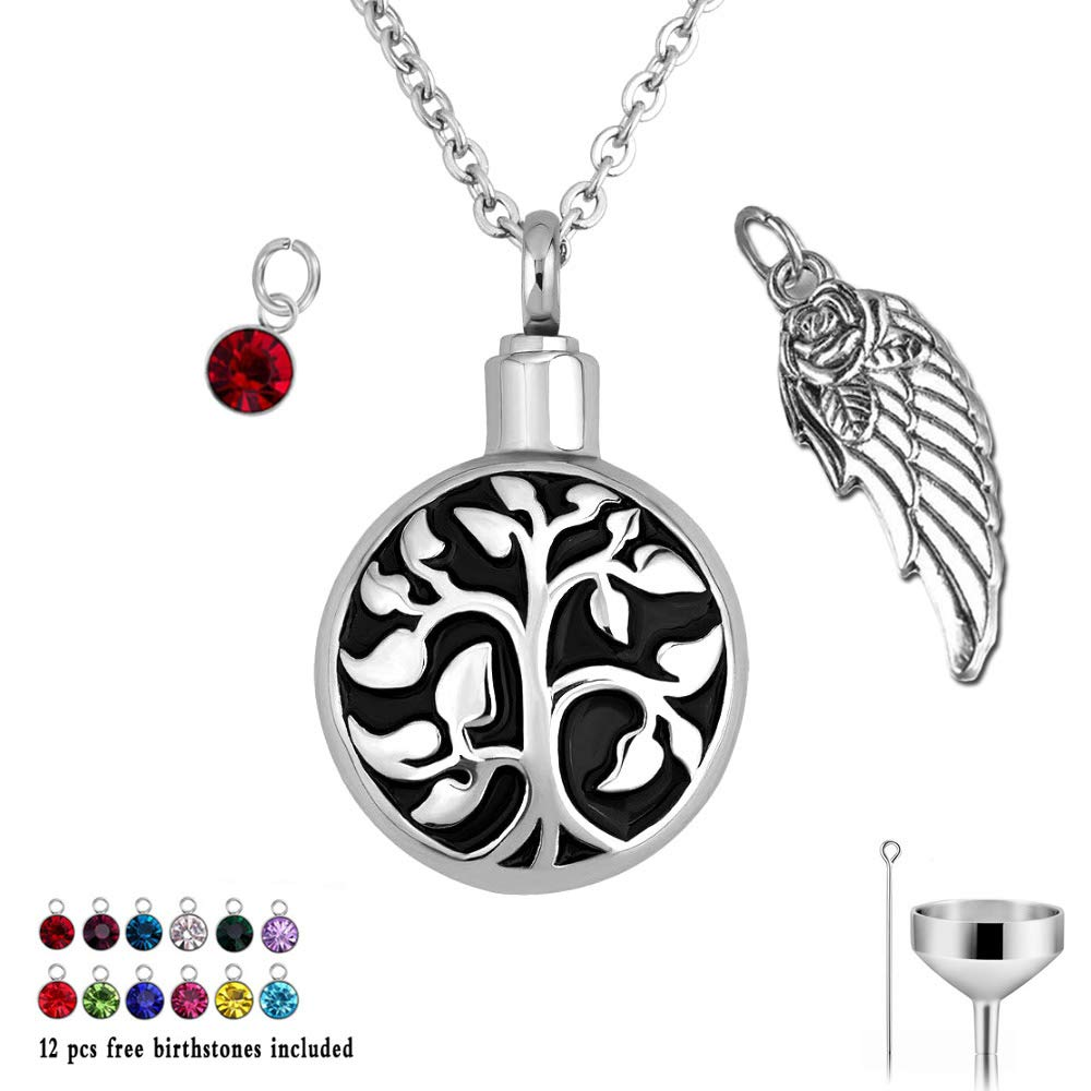 misyou Tree of Life Cremation Urn Jewelry Keepsake Memorial Necklace 12 Colors Birthstone Pendant for Ashes w//Funnel Filler Kit Black