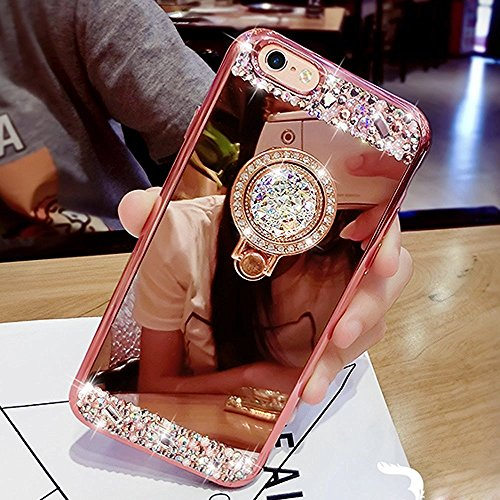 iPhone 8 Plus Case,iPhone 7 Plus Case,Luxury Crystal Rhinestone Soft TPU Rubber Bumper Case Bling Diamond Glitter Makeup Mirror Back Case with Ring Stand Holder for iPhone 8 Plus/ 7 Plus, (Rose Gold)