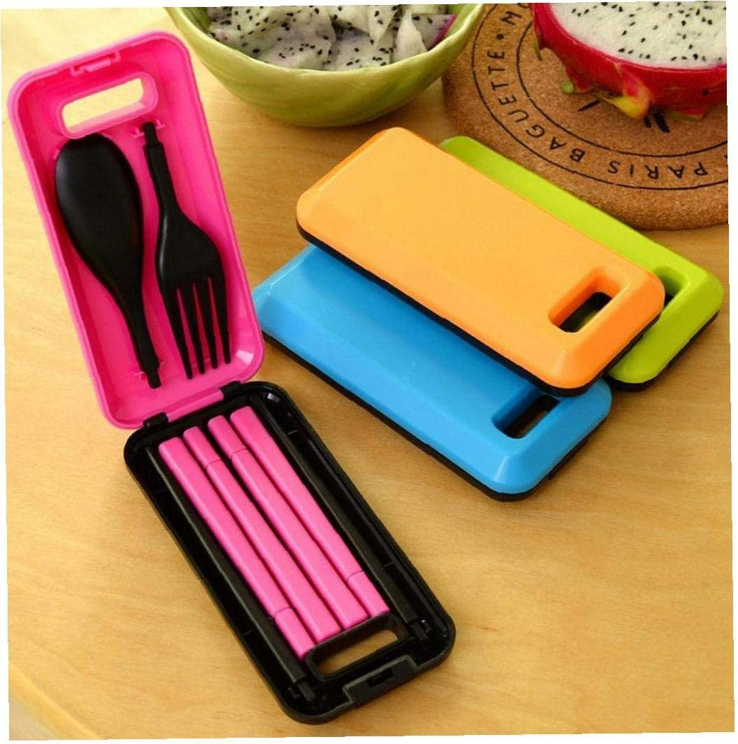 Casecover 3 in 1 with Storage Box Abs Hiking Traveling Tableware Cutlery Fork Chopsticks Folding Dinnerware 1 Set Outdoor Camping Tool Orange