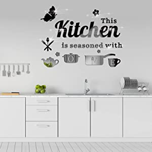 14Pcs Removable Acrylic Mirror Kitchen Wall Decal, KMOTASUO Ornamental Mural Stickers with Letters Kitchenware and Butterfly, Home Decor Decals for Living Room Dining Room Restaurant (Black)