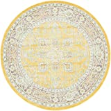 Unique Loom Havana Collection Yellow Round Rug (5' x 5')