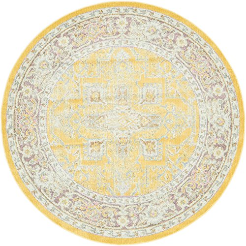 Unique Loom Baracoa Collection Bright Tones Vintage Traditional Yellow Round Rug (5' 5 x 5' 5) (Round 5 Ft Rug)