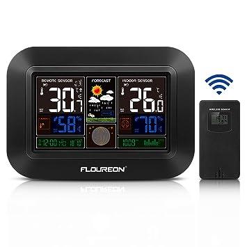 FLOUREON - Estación meteorológica inalámbrica con Sensor Exterior higrómetro termómetro Digital para Interior y Exterior Previsión meteorológica de ...