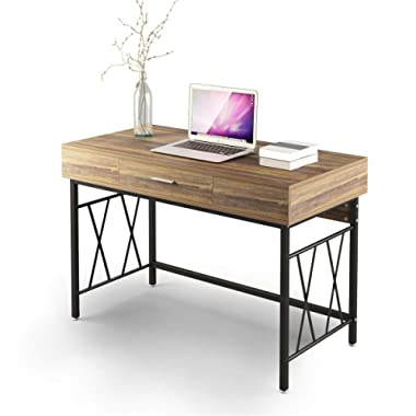 """Computer Desk with Drawer 47"""" Writing Desk Office Desk Workstation Table for Home Office Study Room"""