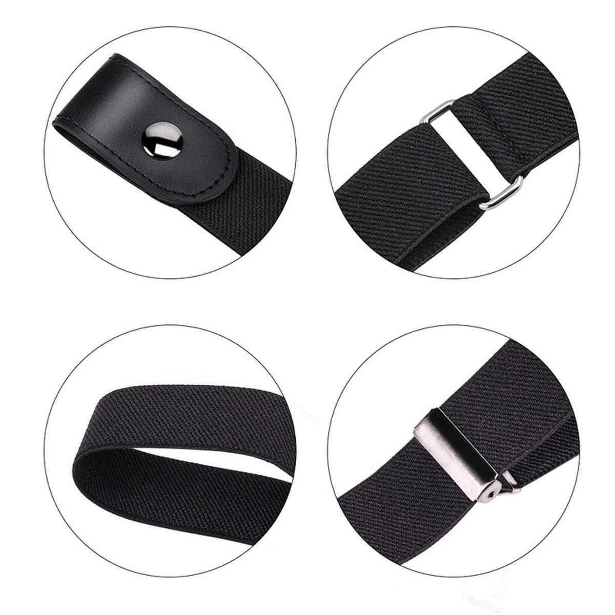 FENICAL Unisex Leather Slim Stretch Invisible Belt Jeans Simple Joker Lazy Belt Buckle Free Stretch Belt Plus Size No Buckle Show Invisible Belt for Jeans Pants Dresses Size 115CM Black