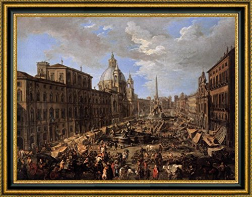 market-in-the-piazza-navona-in-rome-by-andrea-locatelli-15-x-19-framed-canvas-art-print-ready-to-han
