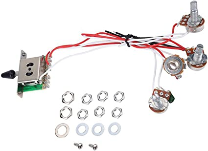 Electric Guitar Wiring Harness Kits for Strat Style Guitar Replacement,  2T1V Control Knobs 5-Way Switch 500K Pots with Jack: Amazon.co.uk: Musical  InstrumentsAmazon UK