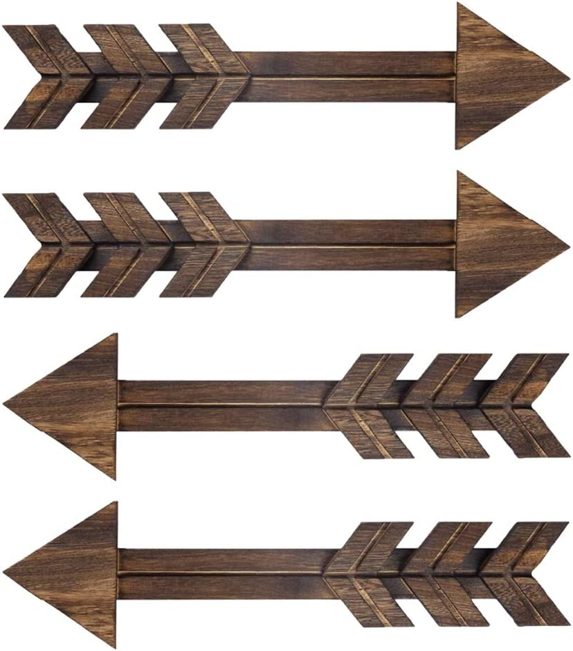 4 PCS Rustic Wood Arrow Sign Wall Decor, Dark Wooden Arrows Farmhouse and Home Hanging Decoration for Home or Wedding
