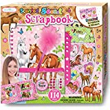 SmitCo LLC Scrapbook Kit For Girls - Pony or Horse Scrapbooking Arts and Crafts Gifts Sets for Kids 5 Years and Older - Includes Album With Passcode Lock, 3D Stickers, Jewels and More For Hours of Fun