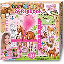 SmitCo LLC Scrapbook For Kids, Craft Kits For Girls In Pony Or Horse Theme, Gift Set Includes Scented Activity Kit With Lock, 3D Stickers, 24 Jewels, 1 Feather Pen, 1 Craft Tape, 1 Pencil Pouch
