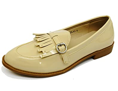 1faadc935af Ladies Beige Slip-On Loafers Moccasin Casual Smart Work Comfy Flat Shoes  Sizes 3-