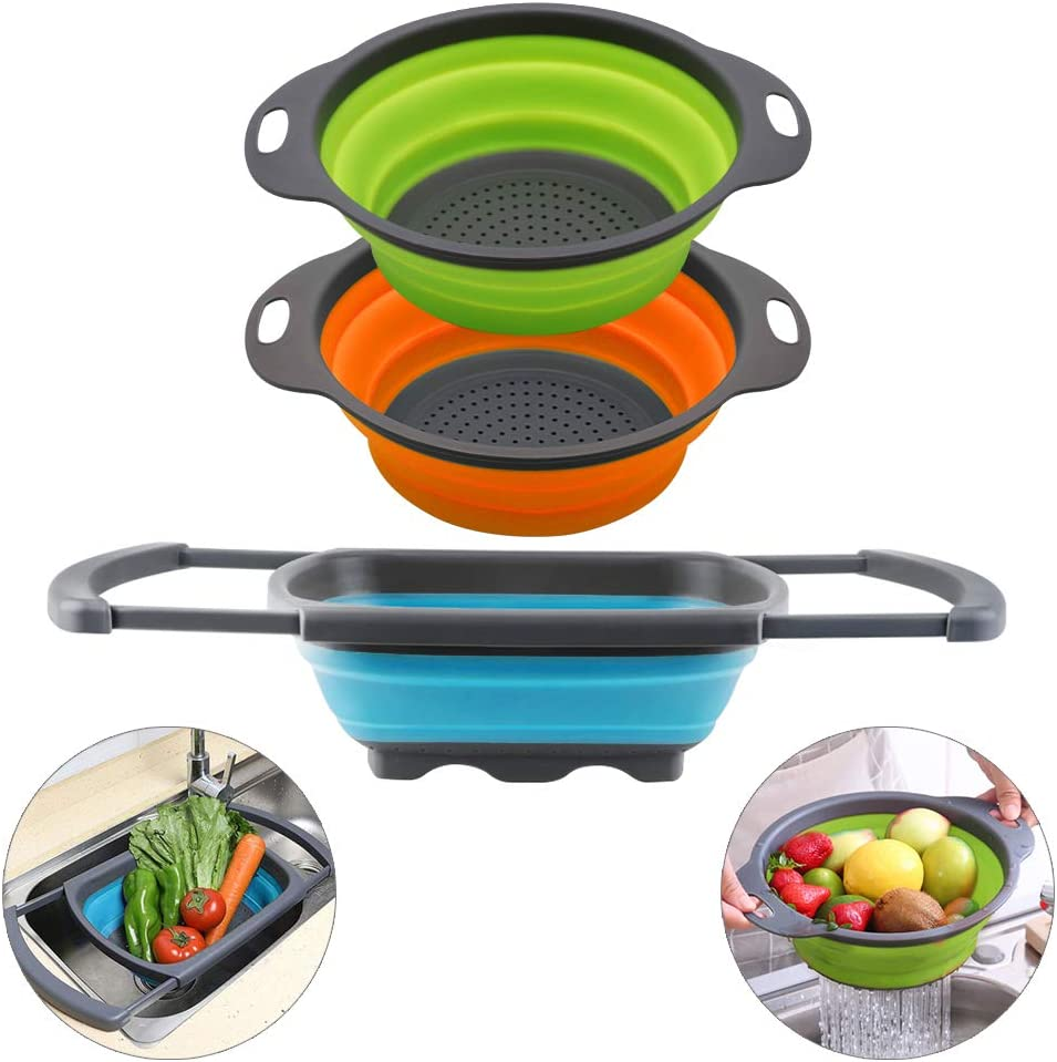 QiMH Collapsible Colander Set of 3-2 PC 4 Quart and 1 PC 6 Quart Over the Sink Colander - Food-Grade Sturdy Plastic Base - Round Space-save Silicone Kitchen Foldable Food Strainer